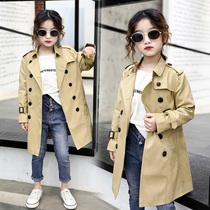 Girls 2019 autumn new windbreaker children in the long section of the Korean version of the wind coat female baby yangqi little girl coat