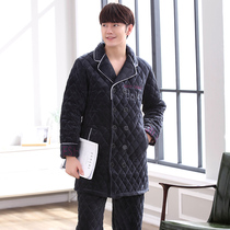 Winter pajamas men thicker three-layer warm flannel cotton long suit winter home service casual fashion