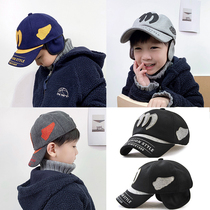 Childrens hat male tide autumn and winter boys woolen and velvet ear protection cap baby duck cap warm baseball cap Korean version