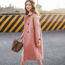 Coat women in the long section of the Korean version of the new 2019 autumn and winter models loose Hepburn style Niko pink woolen woolen coat