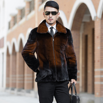 Imported mink fur coat male whole Mink vest hooded men's mink coat slim mid-length anti-Season Clearance