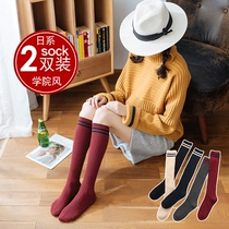 Long tube leg socks black Street tube high tube Japanese jk stovepipe thin section ins tide summer knee socks female