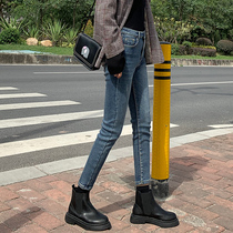 Jeans women 2019 autumn new high waist Korean version of the elastic was thin wild students nine points feet pencil pants