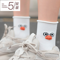 Socks female tube socks Japanese cute autumn and winter ins tide wild students Street three-dimensional cartoon solid color cotton socks