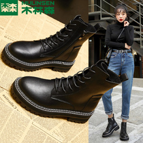 Martin boots female 2019 autumn and Winter new Wild Network red boots British style plus velvet shoes increased shoes