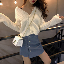 Early autumn knit cardigan jacket womens 2019 new ins fashion temperament short white sweater loose autumn