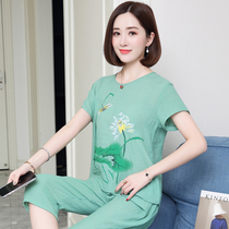 Summer middle-aged womens cotton short-sleeved pants suit loose large size mother installed printing embroidery summer