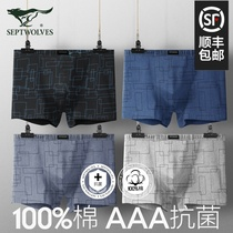 Seven wolves mens underwear mens cotton antibacterial boxer briefs summer thin section breathable antibacterial bottom pants shorts