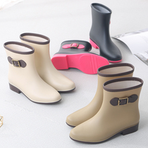 New fashion rain boots women autumn and winter short tube frosted waterproof non-slip rain boots women outdoor work sets of shoes rubber shoes women