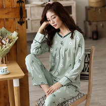 Spring and autumn middle-aged mother plus fat plus size pajamas female fat MM200 kg cotton can wear home service suits winter