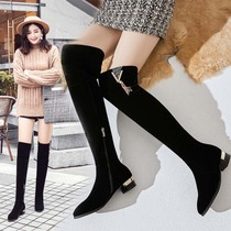 Frosted suede boots winter new with 3 cm over knee boots low heel high boots thick with knee