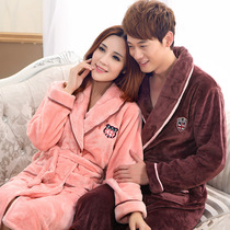 Factory direct flannel robe men and women couples bathrobe thick coral velvet pajamas special new
