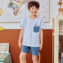 Fen Teng summer childrens pajamas cotton short-sleeved casual thin section of the boy round neck hedging can wear home service suits