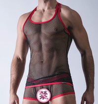Men's sexy hollow Mesh Mesh hollow vest fitness transparent underwear Sling nightclub tops