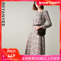 Yen domain retro checkered long-sleeved dress female autumn 2019 new long section waist slim temperament skirt