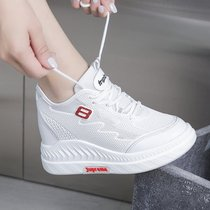 Summer small white shoes female 2019 new high-heeled wedge heel shoes thick bottom increased leisure mesh breathable shoes