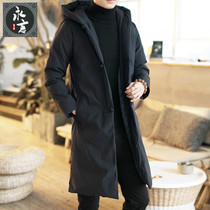 Winter Chinese Style Men Hooded cotton coat male retro Chinese style buckle thick cotton jacket in the long section of cotton jacket male