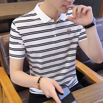 Short-sleeved T-shirt mens summer 2019 new Korean striped youth mens half-sleeved lapel polo shirt mens T-shirt tide