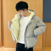 Winter men with velvet thickened cotton clothes Korean version of short down cotton clothing trend jacket cotton jacket new bread suit man
