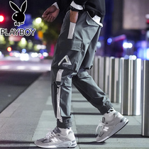 Playboy Plus velvet thick beam foot overalls male Tide brand autumn and winter leisure sports pants Korean version of the trend