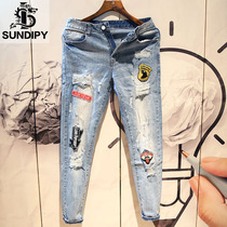 sundipy spring and Summer mens cowboy long pants Korean ins trend retro slim embroidery stickers holes feet