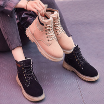 Autumn and winter Martin boots womens British Wind 2019 new hundred plus students two cotton shoes short boots autumn plus cotton boots tide shoes