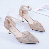 Cat with sequins silver pointed shallow mouth with high heels female New hollow fashion buckle Korean sandals