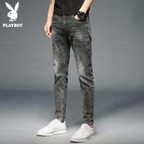 Playboy jeans men's Tide brand 9 points slim feet casual pants Korean version of the trend of thin section pants men