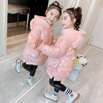 Girls ' winter clothing 2019 Korean version of the new version of the Yang Qi bright surface girl down cotton jacket with cashmere padded padded padded padded children's cotton clothes