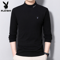Playboy long sleeve t-shirt mens semi-high collar fleece sweatshirt winter Korean version slim mens solid color bottoming shirt