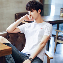 Law School Eagle summer mens short-sleeved T-shirt Korean round neck half-sleeved slim compassionate shirt trend mens fashion