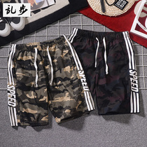 Mens tooling shorts pants pants summer casual sports pants camouflage loose large size Korean trend beach pants
