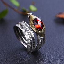 Angel willing Takahashi Goro ring 925 Silver opening couple ring female red black feather ring male personality