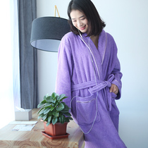 Bathrobe female cotton bathrobe summer autumn and winter towel sexy couple robe men Valentines day hotel absorbent cotton