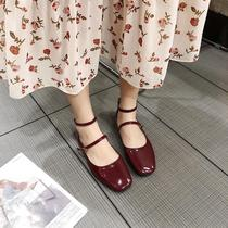 Korean Retro Red Square shallow mouth word buckle patent leather flat shoes spring and summer new Wild low to help single shoes female