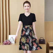 Summer 2019 new womens stitching printing dress Korean loose popular long short-sleeved large size skirt
