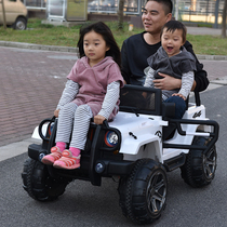 Two-seater four-wheel drive off-road swing childrens electric car four-wheel can sit people Baby Toy Car children with remote control car