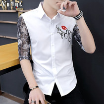 Hair stylist personality hollow short-sleeved shirt mens summer casual sleeve shirt Tide brand ins Japanese seven sleeves