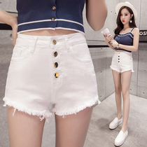 2019 summer new stretch denim shorts women wear irregular hot pants tight slim high waist trend students