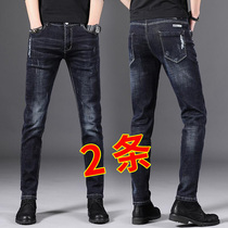 Autumn and winter mens denim stretch Korean version of the trend of wild black youth slim straight feet pants Tide brand