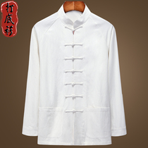 Spring and autumn season Tang mens jacket long sleeve bottoming shirt Chinese style plus cotton linen shirt loose thin top