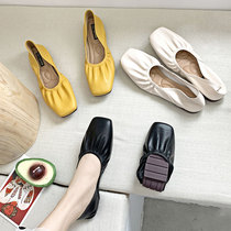 Net red spring single shoes female 2019 new wild shallow mouth ballet flat dance a pedal peas shoes grandma shoes