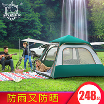 Donkey shield tent outdoor 3-4 people automatic 2 people camping thick rain field camping double home riot rain