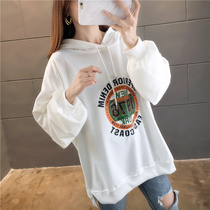 Korean version of the fat mm2019 autumn thin section large size hooded sweater women loose college style bf long-sleeved lazy wind shirt
