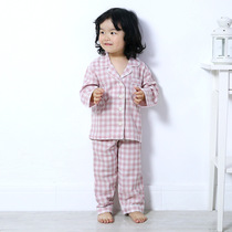 Japanese childrens home wear cotton double gauze spring and autumn long-sleeved cotton pajamas boys and girls