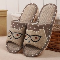 Home cute female home with a non-slip couple thick cotton linen wood floor indoor male spring linen sandals