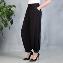 Spring and summer models in the elderly pants national wind high waist square dance pants cotton loose loose radish wide leg pants