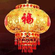 Big Red Lantern ornaments New Year Spring Festival married housewarming lamp LED Crystal rotating Chinese balcony chandelier