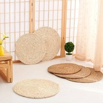 Round casual Japanese hand-woven cattail futon pier Pier rattan grass size creative pastoral Yang