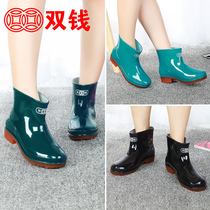 Men and women models tendon bottom selling rain boots non-slip water boots plus cashmere warm shoes short tube wear-resistant rain boots work shoes